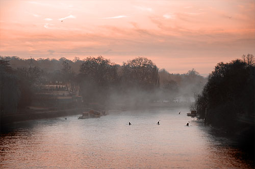Sunrise glow on River Thames at Richmond print